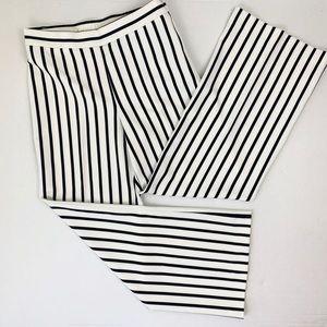 Soft Surroundings White Black Stripe WideLeg Pants